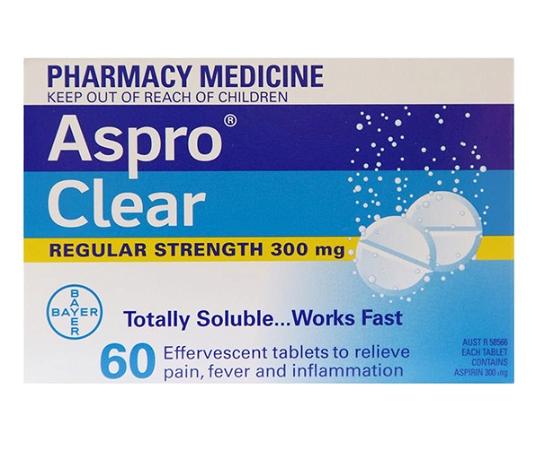 Aspro Clear Regular Strength 60 Tablets
