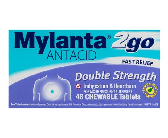 Mylanta 2Go Antacid Double Strength 48 Chewable Tablets