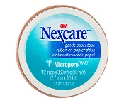 Nexcare by 3M Micropore Gentle Paper Tape Tan 12.5mm x 9.1m 1 Roll