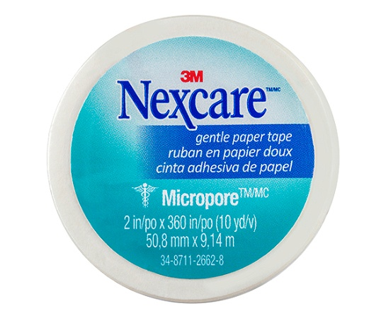 Nexcare by 3M Micropore Gentle Paper Tape White 50mm x 9.1m 1 Roll