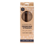 Ever Eco Stainless Steel Straws with Cleaning Brush Rose Gold Straight 2 Pack