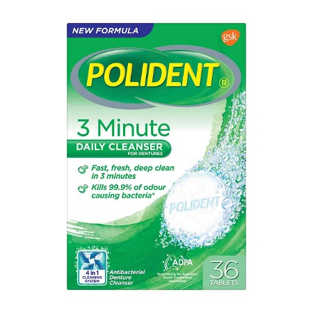 Polident Denture Cleanser Fresh Active Tablets 36 Pack