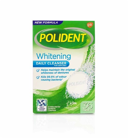 Polident Whitening Daily Cleanser for Dentures 36 Tablets
