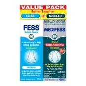 Medifess Allergy & Hayfever Nasal Spray 140 Metered Doses + Fess Saline Nasal Spray 30ml Value Pack