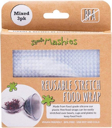 Little Mashies Reusable Stretch Silicone Food Wrap incudes Small, Medium & Large