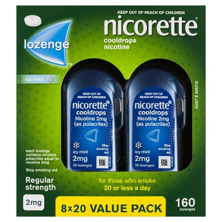 Nicorette Quit Smoking Cooldrops Icy Mint 2mg 160 Lozenges (Exp: December 2021, no refunds or exchanges)