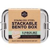 Ever Eco Bento Box Stackable Bento 2 Tier + Mini Snack Container 1200ml