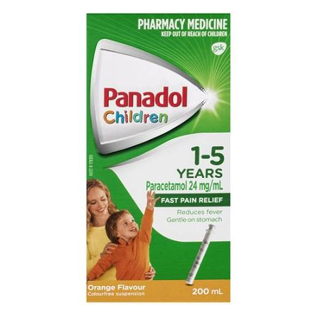 Panadol Children 1-5 Years Orange Flavour Colour Free 200ml