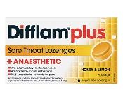 Difflam Plus Anaesthetic Sore Throat Lozenges Honey & Lemon Sugar Free 16 Pack
