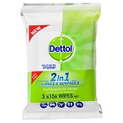 Dettol 2in1 Hands & Surface Antibacterial Wipes 3 x 15 Pack