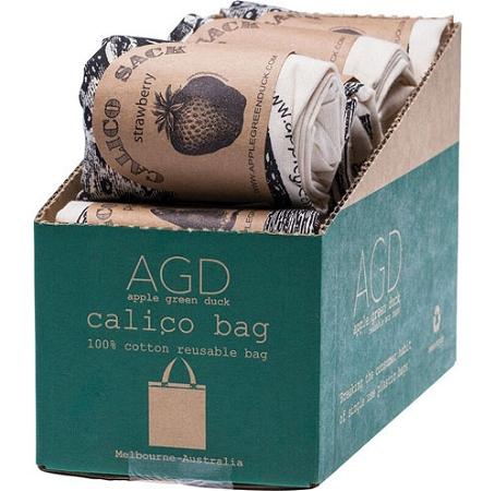 Apple Green Duck Reusable Shopping Bag Calico Mixed Gourmet Designs