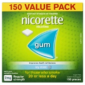 Nicorette Quit Smoking Gum 2mg Regular Strength Coated Icy Mint 150 Pieces Value Pack