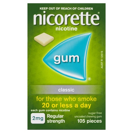 Nicorette Quit Smoking Gum 2mg Regular Strength Uncoated Classic 105 Pieces