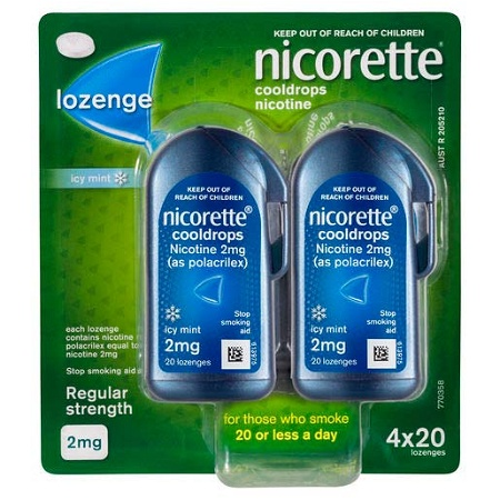 Nicorette Quit Smoking Cooldrops Icy Mint 2mg 80 Lozenges