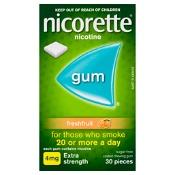 Nicorette Quit Smoking Gum 4mg Extra Strength Coated Fresh Fruit 30 Pieces