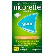 Nicorette Quit Smoking Gum 4mg Extra Strength Coated Fresh Fruit 105 Pieces