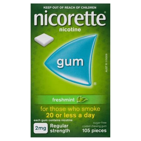 Nicorette Quit Smoking Gum 2mg Regular Strength Coated Fresh Mint 105 Pieces