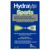 Hydralyte Sports Electrolyte Powder Sachets Lemon Lime 12 Pack
