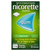 Nicorette Gum 2mg Regular Strength Coated Fresh Mint 30 Pieces
