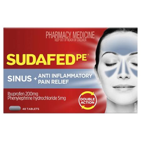 Sudafed PE Sinus + Anti-Inflammatory Pain Relief 48 Tablets