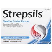 Strepsils Double Antibacterial Lozenges Menthol & Mint 16 Pack