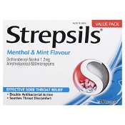 Strepsils Double Antibacterial Lozenges Menthol & Mint 36 Pack