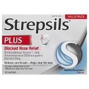 Strepsils Plus Blocked Nose Relief Menthol Eucalyptus 36 Lozenges