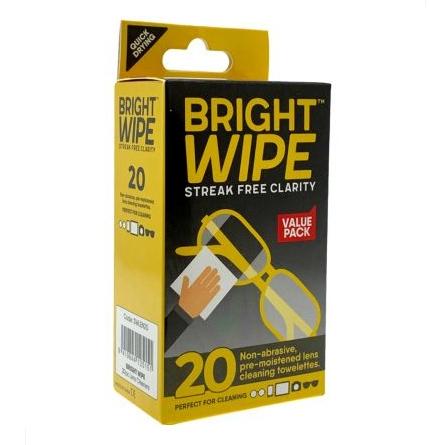 Bright Wipe Lens Wipe 20 Pack