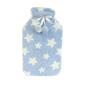 McGloins Hot Water Bottle with Heart & Stars Plush Cover (Assorted Designs Selected at Random)