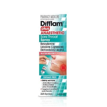 Difflam Plus Anaesthetic Sore Throat Spray Watermelon Sugar Free 30ml