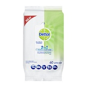 Dettol 2 in 1 Hands and Surfaces Antibacterial Wipes 60 Pack