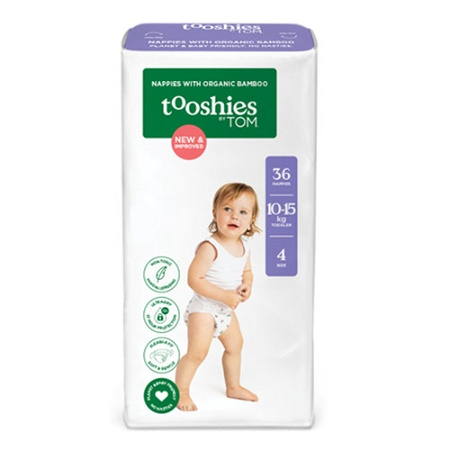 Tooshies by Tom Nappies Size 4 - Toddler (10-15kg) 36 Pack