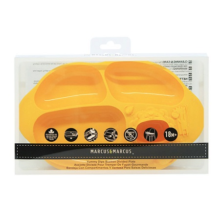 Marcus & Marcus Yummy Dips Suction Divided Plate Yellow