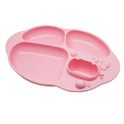 Marcus & Marcus Yummy Dips Suction Divided Plate Pink