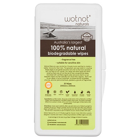 Wotnot Biodegradable Extra Large 20 Baby Wipes with Travel Case