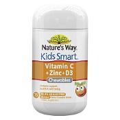 Natures Way Kids Smart Vitamin C + Zinc + D3 99.9% Sugar Free 75 Chewable Tablets