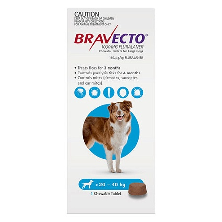 Bravecto for Large Dogs 20kg - 40kg 1 Chewable Tablet