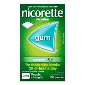 Nicorette Quit Smoking Gum 2mg Regular Strength Spearmint 105 Pieces