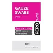 AeroSwab White Gauze Swab 5cm x 5cm 100 Cotton Swabs