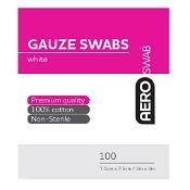 AeroSwab White Gauze Swab 7.5cm x 7.5cm 100 Cotton Swabs