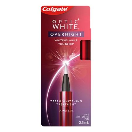 Colgate Optic White Overnight Teeth Whitening Treatment Pen Contains Hydrogen Peroxide Enamel Safe 2.5mL