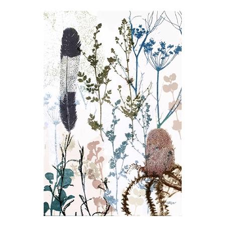 KE Design Linen Tea Towel Banksia & Feather