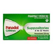 Panadol Children Suppositories 5 - 12 Years Paracetamol 250mg 10 Pack