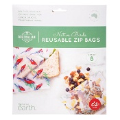 BPA Free Reusable Zip Bags Native Birds 8 pack