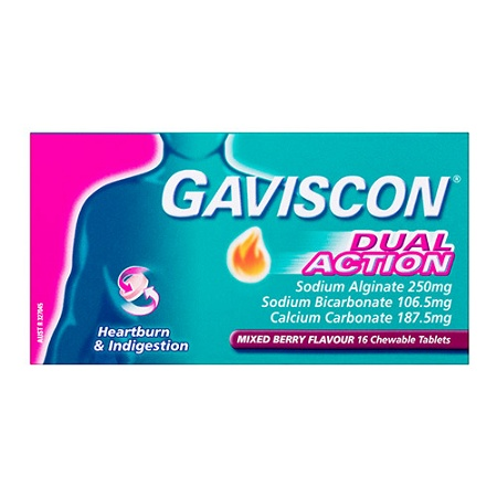Gaviscon Dual Action Mixed Berry 16 Chewable Tablets