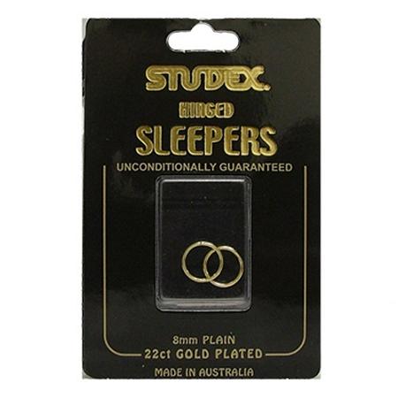 Studex Plain Mini 8mm Sleeper Earring Gold 1 Pair
