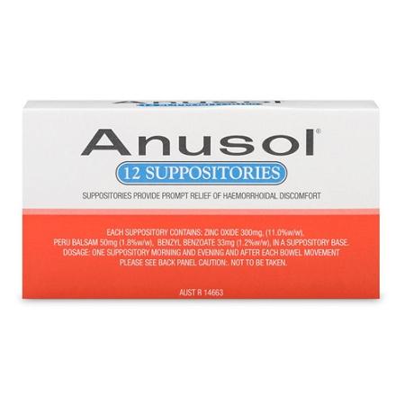 AnuSol Haemorrhoid Suppositories 12 Pack
