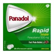 Panadol Rapid Soluble Paracetamol Pain Relief 20 Effervescent Tablets