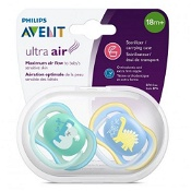 Avent Soother Ultra Air 18 months+ 2 Pack (Colours selected at random)