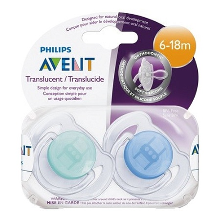 Avent Translucent Silicone 6-18 Months 2 Soothers (Colours seleced at random)